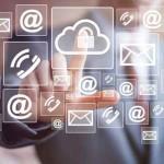 Businessman pushing web button cloud lock network communication
